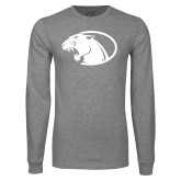 Grey Long Sleeve T Shirt-Panther Head
