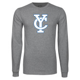Grey Long Sleeve T Shirt-Interlocking YC