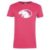 Ladies Fuchsia T Shirt-Panther Head