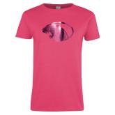 Ladies Fuchsia T Shirt-Panther Head Foil