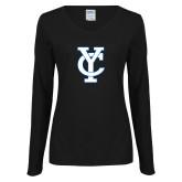 Ladies Black Long Sleeve V Neck Tee-Interlocking YC