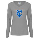 Ladies Grey Long Sleeve V Neck Tee-Interlocking YC