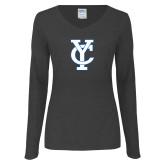 Ladies Dark Heather Long Sleeve V Neck Tee-Interlocking YC
