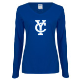 Ladies Royal Long Sleeve V Neck Tee-Interlocking YC