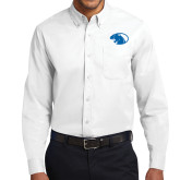 White Twill Button Down Long Sleeve-Panther Head