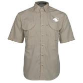 Khaki Short Sleeve Performance Fishing Shirt-Panther Head