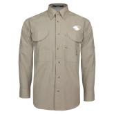 Khaki Long Sleeve Performance Fishing Shirt-Panther Head