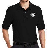 Black Easycare Pique Polo-Panther Head