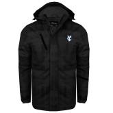 Black Brushstroke Print Insulated Jacket-Interlocking YC