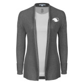 Ladies Heather Grey Open Front Cardigan-Panther Head