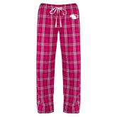 Ladies Dark Fuchsia/White Flannel Pajama Pant-Panther Head