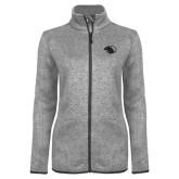 Grey Heather Ladies Fleece Jacket-Panther Head