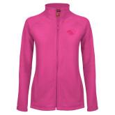 Ladies Fleece Full Zip Raspberry Jacket-Panther Head