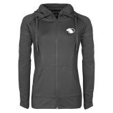 Ladies Sport Wick Stretch Full Zip Charcoal Jacket-Panther Head