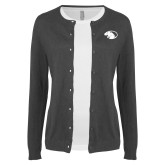 Ladies Charcoal Cardigan-Panther Head