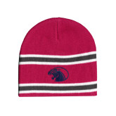 Pink/Charcoal/White Striped Knit Beanie-Panther Head