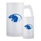 Full Color Decorative Frosted Glass Mug 16oz-Panther Head