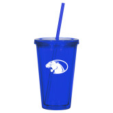 Madison Double Wall Blue Tumbler w/Straw 16oz-Panther Head