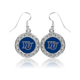 Crystal Studded Round Pendant Silver Dangle Earrings-YU