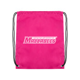 Pink Drawstring Backpack-Yeshiva University Maccabees