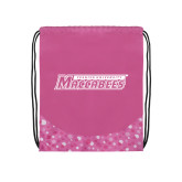 Nylon Pink Bubble Patterned Drawstring Backpack-Yeshiva University Maccabees