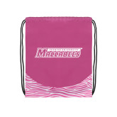 Nylon Zebra Pink/White Patterned Drawstring Backpack-Yeshiva University Maccabees