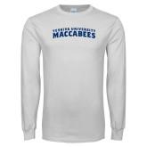White Long Sleeve T Shirt-Arched Yeshiva University Maccabees