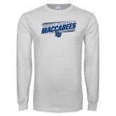 White Long Sleeve T Shirt-Slanted Maccabees Stencil