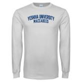 White Long Sleeve T Shirt-Yeshiva University Maccabees Arched