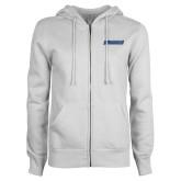 ENZA Ladies White Fleece Full Zip Hoodie-Yeshiva University Maccabees