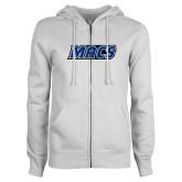 ENZA Ladies White Fleece Full Zip Hoodie-Macs
