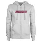 ENZA Ladies White Fleece Full Zip Hoodie-Yeshiva University Maccabees Hot Pink Glitter