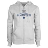 ENZA Ladies White Fleece Full Zip Hoodie-2018 Skyline Mens Tennis Champions