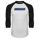 White/Black Raglan Baseball T Shirt-Yeshiva University Maccabees