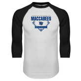 White/Black Raglan Baseball T Shirt-Maccabees Baseball Diamond