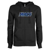 ENZA Ladies Black Fleece Full Zip Hoodie-Macs