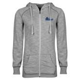 ENZA Ladies Grey/Black Marled Full Zip Hoodie-Primary Logo