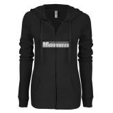 ENZA Ladies Black Light Weight Fleece Full Zip Hoodie-Yeshiva University Maccabees White Soft Glitter