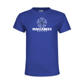 Youth Royal T Shirt-Maccabees Soccer Lined Ball