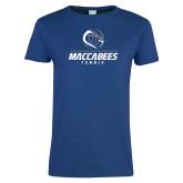 Ladies Royal T Shirt-Maccabees Tennis Stacked