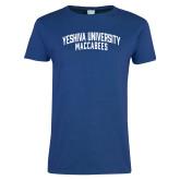 Ladies Royal T Shirt-Yeshiva University Maccabees Arched