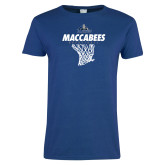 Ladies Royal T Shirt-Maccabees Basketball Net