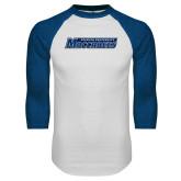 White/Royal Raglan Baseball T Shirt-Yeshiva University Maccabees
