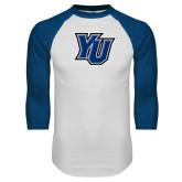 White/Royal Raglan Baseball T Shirt-YU