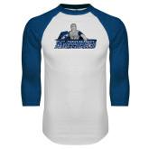 White/Royal Raglan Baseball T Shirt-Primary Logo Distressed