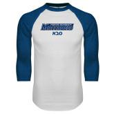 White/Royal Raglan Baseball T Shirt-Saba