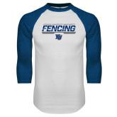 White/Royal Raglan Baseball T Shirt-Maccabees Fencing Bar