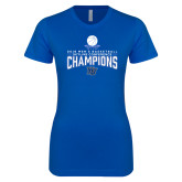 Next Level Ladies SoftStyle Junior Fitted Royal Tee-2018 Mens Basketball Champions