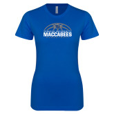 Next Level Ladies SoftStyle Junior Fitted Royal Tee-Maccabees Basketball Half Ball