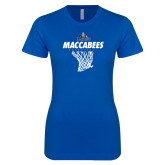 Next Level Ladies SoftStyle Junior Fitted Royal Tee-Maccabees Basketball Net